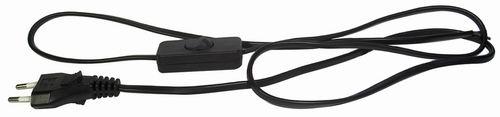 Flexo kabel s vypínačem 3m/2x0,75 černá šňůra/PVC