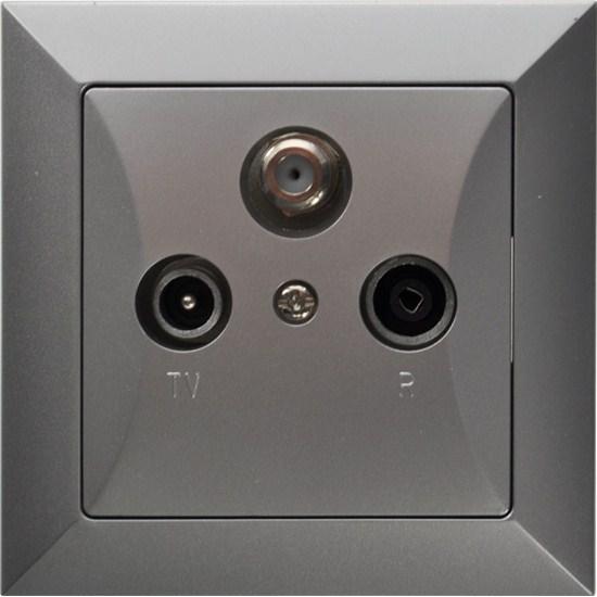Zásuvka Opus Tv plus R plus SAT koncová, stříbrná TIMEX Sp.