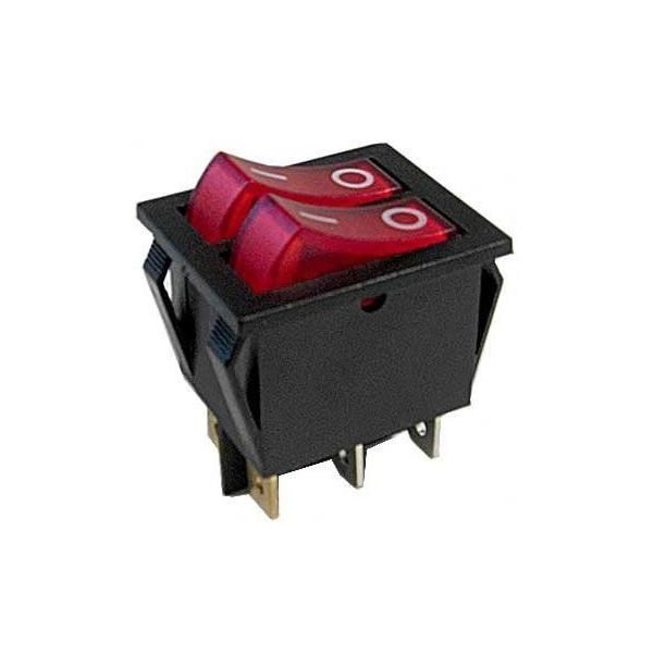 Přepínač kolébkový 2xON-OFF 2pol.250V/15A červený