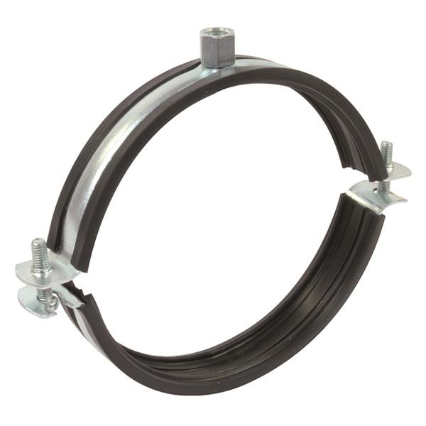 Objímka na VZT potrubí držák s gumou dvoušroubový 200 mm